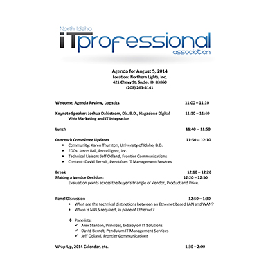 8/5/2014 Agenda INWTPA Inland Northwest Tech Pros Association