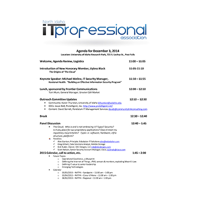 12/3/2014 Agenda INWTPA Inland Northwest Tech Pros Association