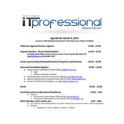 3/4/2015 Agenda INWTPA Inland Northwest Tech Pros Association