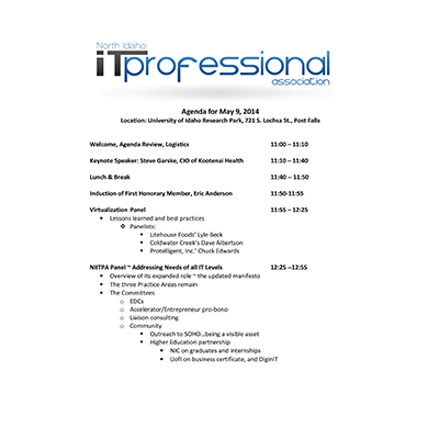 5/9/2014 Agenda INWTPA Inland Northwest Tech Pros Association