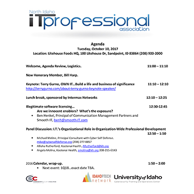 Agenda Q12017 INWTPA Inland Northwest Tech Pros Association